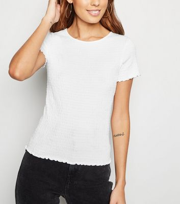White Shirred Frill T-Shirt