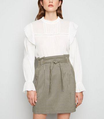 Black Check High Waist Mini Skirt