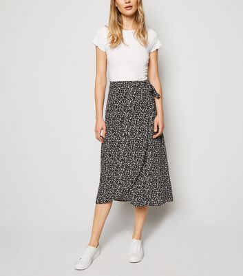 Black Leopard Print Wrap Midi Skirt