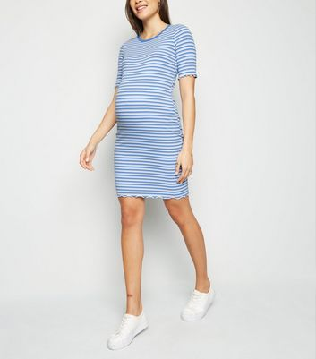 Maternity Blue Stripe Ribbed Jersey Dress