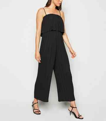 Black Tiered Pleated Jumpsuit