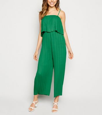 Green Tiered Pleated Jumpsuit