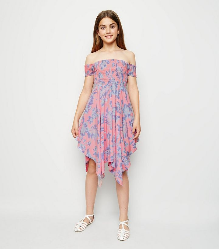 466e14349163 Girls Pink Tropical Floral Hanky Hem Bardot Dress | New Look