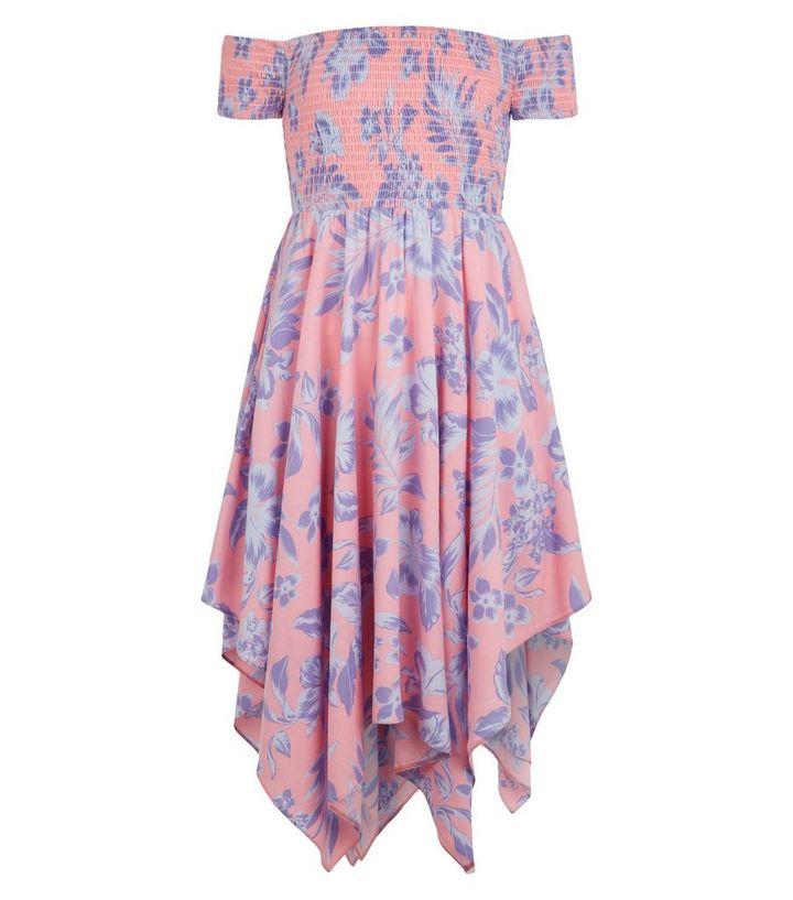 940a49f22ef3 ... Girls Pink Tropical Floral Hanky Hem Bardot Dress. ×. ×. ×. Shop the  look