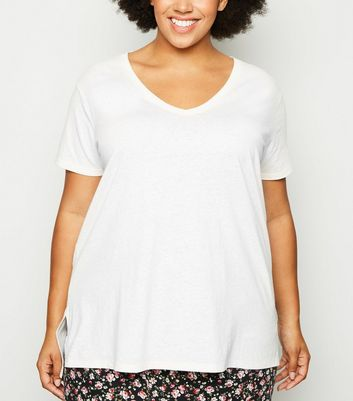 Curves Off White Split Hem T-Shirt