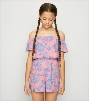 Girls Pink Tropical Bardot Playsuit
