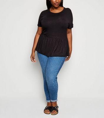New Look Curves  Slub Jersey Peplum Top