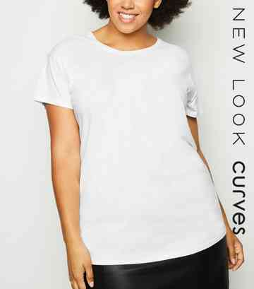 Curves Off White Washed Short Sleeve T-Shirt