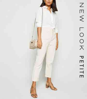 Petite Off White Waist Enhance Mom Jeans