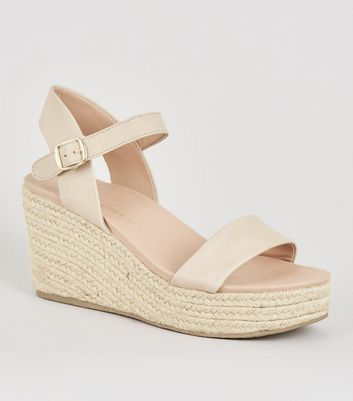 Nude Leather-Look Espadrille Wedges