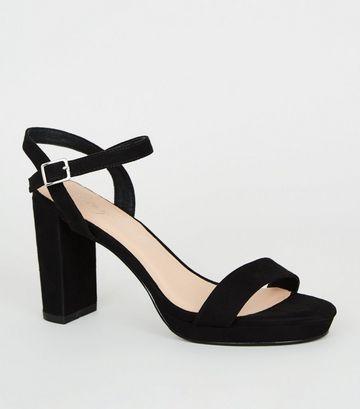 Black Suedette 2 Part Platform Sandals