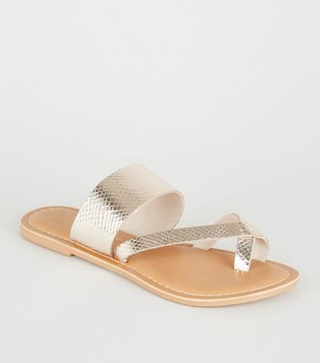 Gold Leather Toe Loop Strappy Sliders