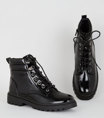 Black Patent Chunky Hiker Boots   New Look