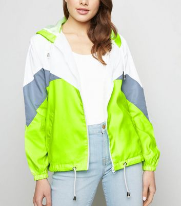 Pink Vanilla Light Green Neon Chevron Shell Jacket