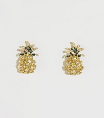 Yellow Gem Pineapple Stud Earrings