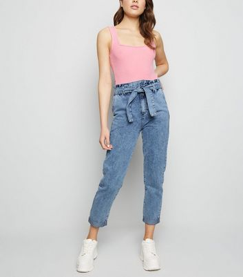 Blue Acid Wash Denim Paperbag Trousers