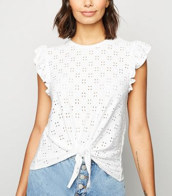 White Broderie Frill Trim Tie Front T-Shirt