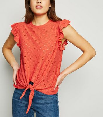 Red Broderie Frill Trim Tie Front T-Shirt