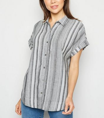 Apricot Off White Stripe Linen Look Shirt