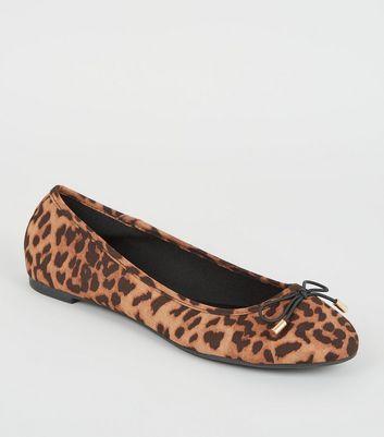 Stone Leopard Print Suedette Ballet