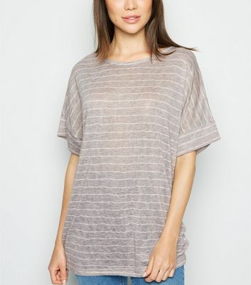 Apricot Light Grey Stripe Oversized Top