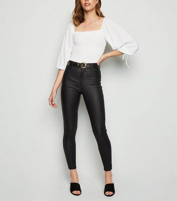 Black Leather-Look Skinny Jeans