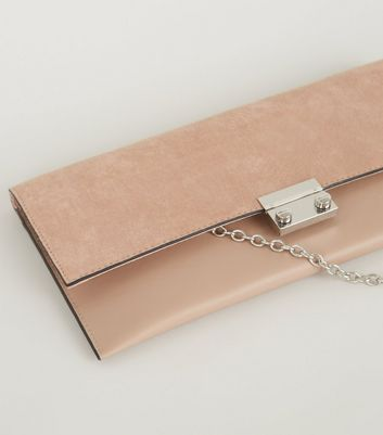 shop for Pale Pink Leather-Look Suedette Clutch Bag New Look Vegan at Shopo