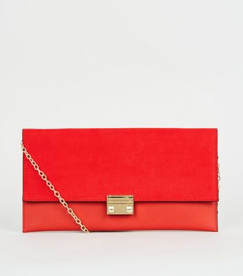 Red Leather-Look Suedette Clutch Bag