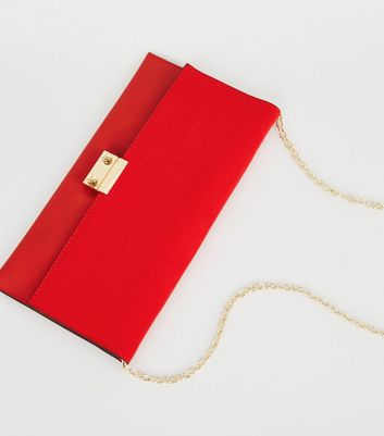 shop for Red Leather-Look Suedette Clutch Bag New Look Vegan at Shopo