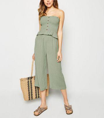 Olive Shirred Culottes