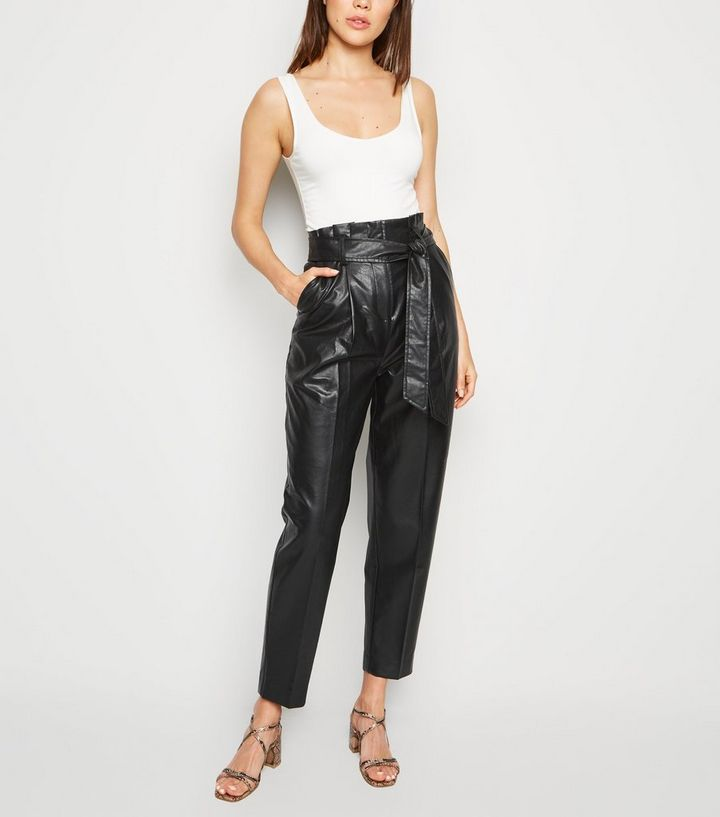 hot sale online most reliable cute Black Leather-Look Tie High Waist Trousers Add to Saved Items Remove from  Saved Items