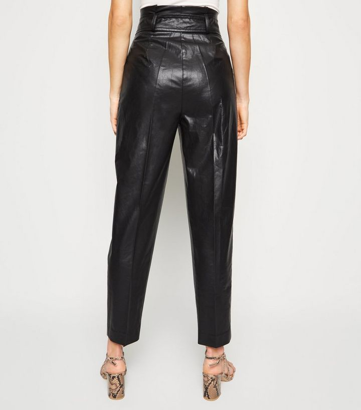 buying now terrific value real quality Black Leather-Look Tie High Waist Trousers Add to Saved Items Remove from  Saved Items