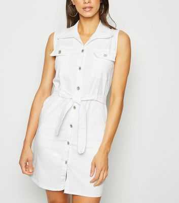 Urban Bliss White Sleeveless Utility Dress