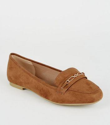 Wide Fit Tan Geometric Bar Loafers