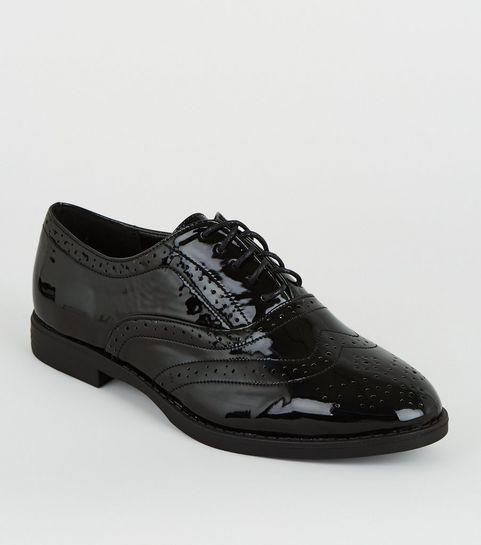 76405bccca0e0 Wide Fit Black Patent Lace Up Brogues ...