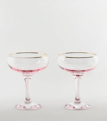 2 Pack Pale Pink Saucer Glasses by New Look