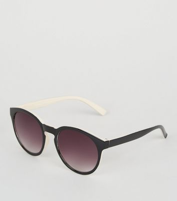 Black Contrast Back Round Sunglasses