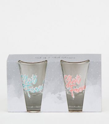 2 Pack Clear Slogan Shot Glasses