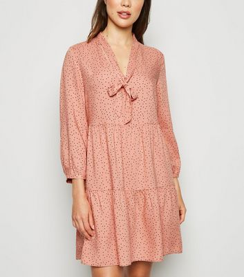 Pink Polka Dot Tie Neck Smock Dress