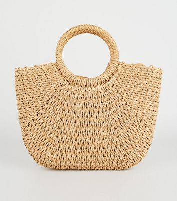 Stone Straw Effect Ring Handle Tote Bag