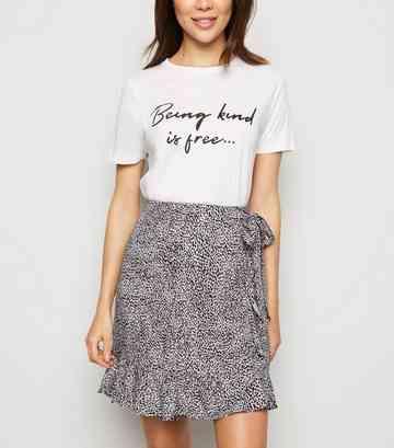 89c90622d2dba Brown Leopard Print Ruffle Mini Wrap Skirt ...