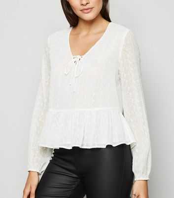 White Embroidered Tie Front Blouse
