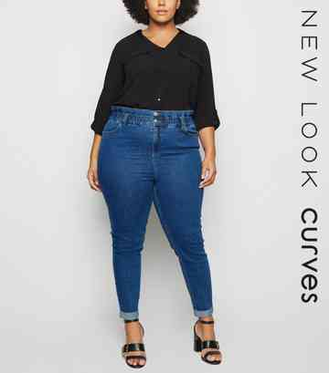 Curves Blue Paperbag Mom Jeans