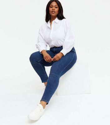 Curves Blue 'lift & Shape' Skinny Jeans by New Look