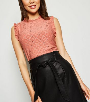 Rust Broderie Frill Top