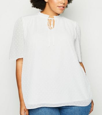 Curves Off White Spot Chiffon Tie Neck Blouse
