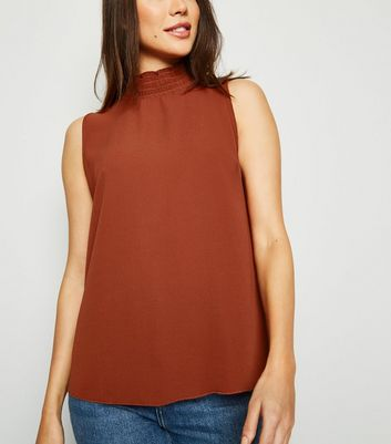 Rust Shirred High Neck Sleeveless Blouse