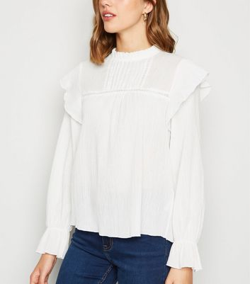 White Lace Panel Crinkle Long Sleeve Blouse