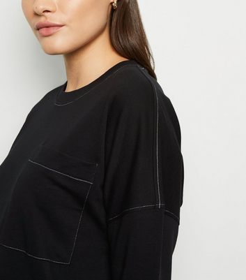 Noisy May Black Contrast Stitch Sweatshirt Dress New Look