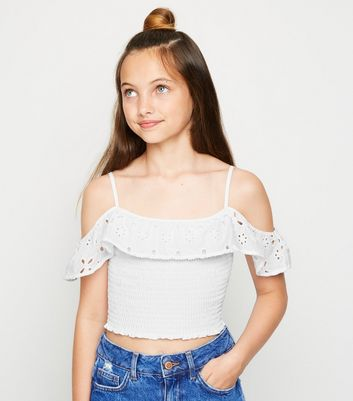 Girls White Broderie Shirred Cold Shoulder Top